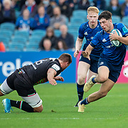 DUBLIN, IRELAND:  October 9:   Jimmy O'Brien #15 of Leinster evades the tackle of Iacopo Bianchi #6 of Zebre during the Leinster V Zebre, United Rugby Championship match at RDS Arena on October 9th, 2021 in Dublin, Ireland. (Photo by Tim Clayton/Corbis via Getty Images)