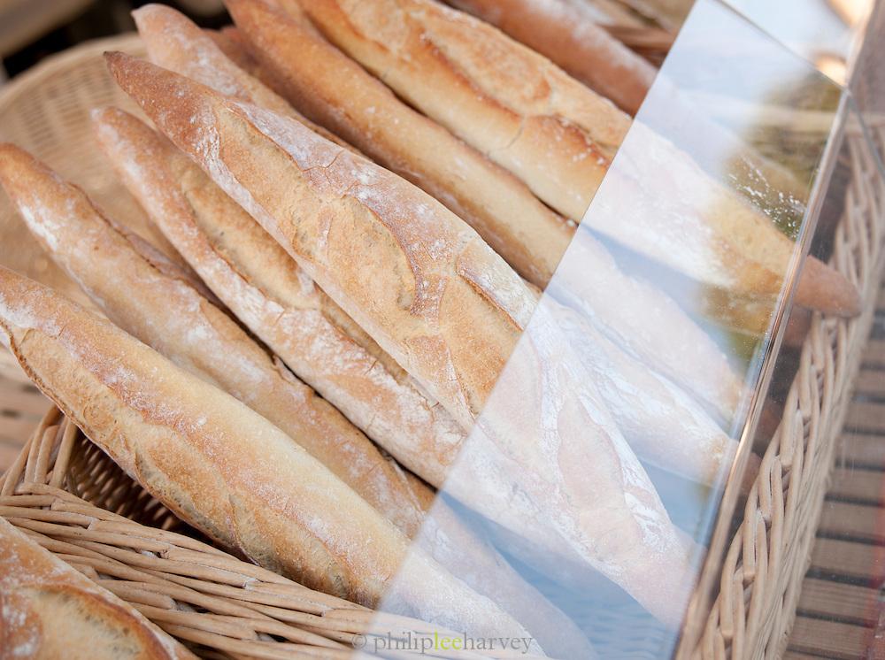 Fresh bread in a market in Valence, Drôme region, France