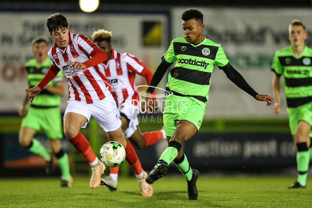 Forest Green Rovers Oliver Artwell(7) plays the ball forward during the FA Youth Cup match between U18 Forest Green Rovers and U18 Cheltenham Town at the New Lawn, Forest Green, United Kingdom on 29 October 2018.