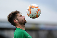York city goalkeeper Scott Flinders keeps his eye on the ball. Skybet football league two match, Newport county v York city at Rodney Parade in Newport, South Wales on Saturday 5th Sept 2015.  pic by Andrew Orchard, Andrew Orchard sports photography.