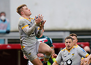 Wasps Fly-half Charlie Atkinson catches a high ball during a Gallagher Premiership Round 10 Rugby Union match, Friday, Feb. 20, 2021, in Leicester, United Kingdom. (Steve Flynn/Image of Sport)