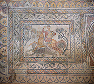 Roman moisaic showing a panther being hunted. 4th Century AD from the Roman Villa of Las Tiendas, National Museum Of Roman Art, Merida, Spain