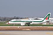 Israel, Ben-Gurion international Airport Alitalia passenger jet landing