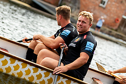 Jack Innard on the Dragon boats prior to paddling down the Quay to launch the new Home and European kits for the upcoming 2019/20 season - Ryan Hiscott/JMP - 19/07/2019 - SPORT - Exeter Quay - Exeter, England - Exeter Chiefs Kit Launch