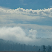 Fog rising from the mountain forests in the Klamath Basin in Oregon.