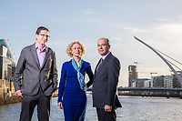 No repro fee<br /> 25-10-2017<br /> Picture shows from left in Dublin's docklands: Jamie Cudden, Smart City Coordinator, Dublin City Council; Anne O'Leary, CEO, Vodafone Ireland and Minister for Communications, Climate Action and Environment, Denis Naughten  as Vodafone Ireland and Dublin City Council announce the deployment of Vodafone's Narrowband IOT network in Dublin's Docklands .One of the first new technologies to be tested is a new flood warning and response solution.The deployment of NBIOT in the area makes Dublin's docklands a world leading Smart City IOT test bed.Pic:Naoise Culhane-no fee