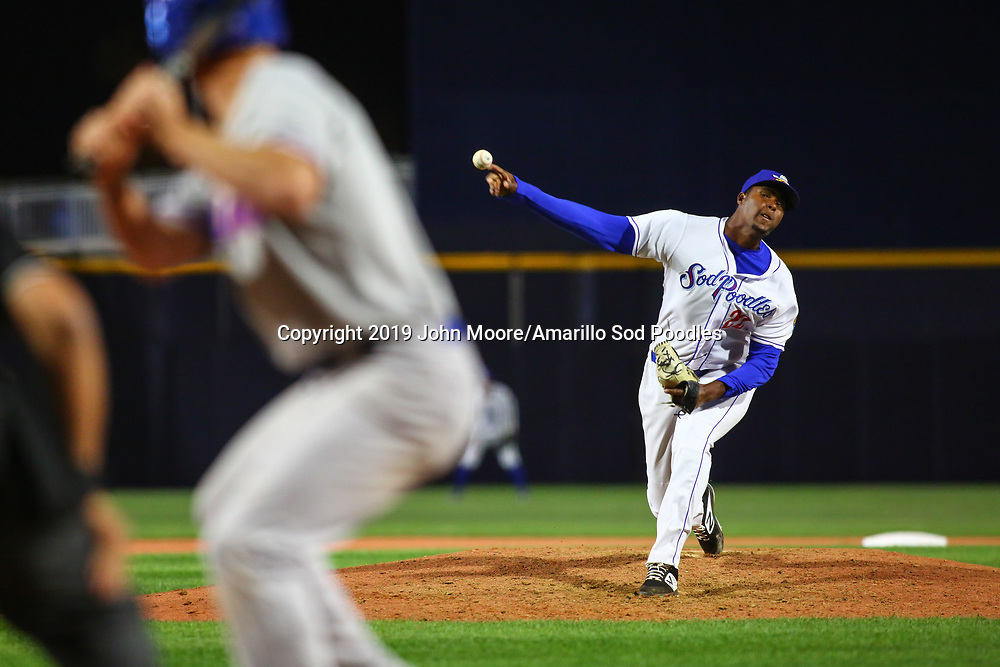 Amarillo Sod Poodles pitcher Dauris Valdez (22) pitches against the Midland RockHounds on Wednesday, April 10, 2019, at HODGETOWN in Amarillo, Texas. [Photo by John Moore/Amarillo Sod Poodles]