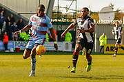 Genseric Kusunga of Dundee FC & Duckens Nazon of St Mirren during the Ladbrokes Scottish Premiership match between St Mirren and Dundee at the Paisley 2021 Stadium, St Mirren, Scotland on 30 March 2019.