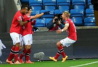 Fotball<br /> UEFA Euro 2016 Matchday 3<br /> Norge v Bulgaria / Norway v Bulgaria<br /> 13.10.2014<br /> Foto: Morten Olsen, Digitalsport<br /> <br /> Norway celebrating 1:0<br /> Per Ciljan Skjelbred (15) - Hertha Berlin / NOR<br /> Tarik Elyounoussi (10) - Hoffenheim / NOR<br /> Joshua King (7) - Blackburh / NOR