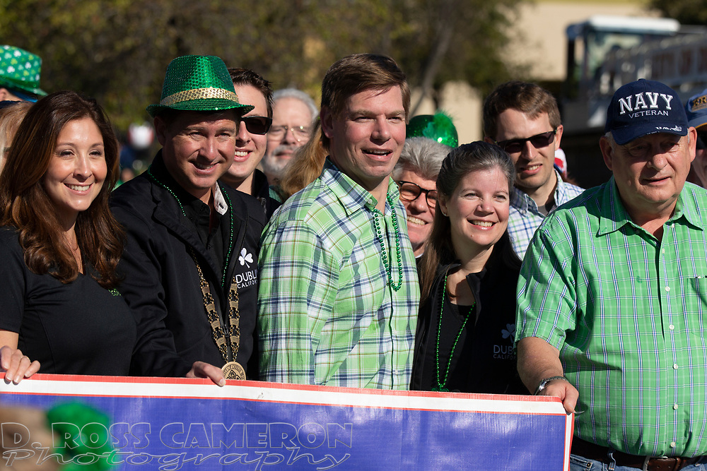 U.S. Rep. Eric Swalwell, center, poses for a photograph with supporters at the annual St. Patrick's Day parade in Dublin, Calif. on Saturday, March 16, 2019. (Photo by D. Ross Cameron)