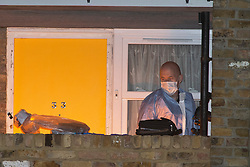 © Licensed to London News Pictures. 27/03/2019. West Norwood,UK.Police forensics team working at the scene, A teenager has been shot dead on the Hainthorpe Estate, West Norwood,London. Police  are on scene and cordons in place, the victim was pronouced dead at the scene. Photo credit: Grant Falvey/LNP