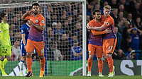 Football - 2016 / 2017 Premier League - Chelsea vs. Manchester City<br /> <br />  Sergio Aguero of Manchester City  holds a finger to his ear after scoring in front of the Chelsea fans  at Stamford Bridge.<br /> <br /> COLORSPORT/DANIEL BEARHAM