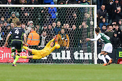 Ruben Lameiras of Plymouth Argyle has his penalty saved by Sam Slocombe of Bristol Rovers - Mandatory by-line: Dougie Allward/JMP - 17/03/2018 - FOOTBALL - Home Park - Plymouth, England - Plymouth Argyle v Bristol Rovers - Sky Bet League One