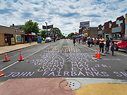 """12 JUNE 2020 - MINNEAPOLIS, MINNESOTA: The names of Black people killed by the police at the impromptu memorial for George Floyd at the corner of 38th Street and Chicago Ave. in Minneapolis. The intersection is informally known as """"George Floyd Square"""" and is considered a """"police free zone."""" There are memorials to honor Black people killed by police and people providing free food at the intersection. Floyd, an unarmed Black man, was killed by Minneapolis police on May 25 when an officer kneeled on his neck for 8 minutes and 46 seconds. Floyd's death sparked weeks of ongoing protests and uprisings against police violence around the world.          PHOTO BY JACK KURTZ"""