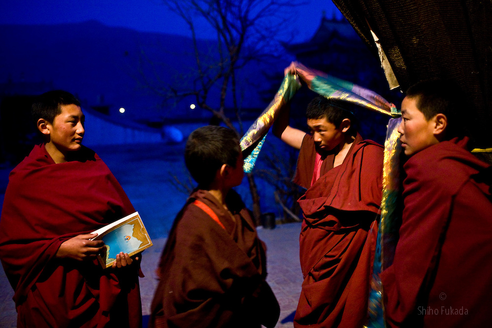 Tibet New Year - China - Edward Wong<br /> Child monks are seen at Rongwo monastery  (Longwu in Chinese) in Rebkong (Tongren in Chinese), Qinghai province in China, February 23, 2009. Photo by Shiho Fukada for The New York Times