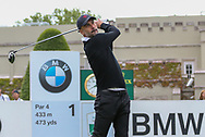 Pep Guardiola on the 1st hole teeing off during the Celebrity Pro-Am day at Wentworth Club, Virginia Water, United Kingdom on 23 May 2018. Picture by Phil Duncan.