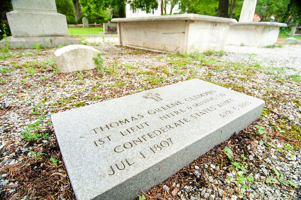 Gravesite of Thomas Greene Clemson, namesake for the town of Clemson who donated the land to found Clemson University, buried at Holy Trinity Episcopal Church in Pendleton, SC on Monday, June 5, 2017. Copyright 2017 Jason Barnette