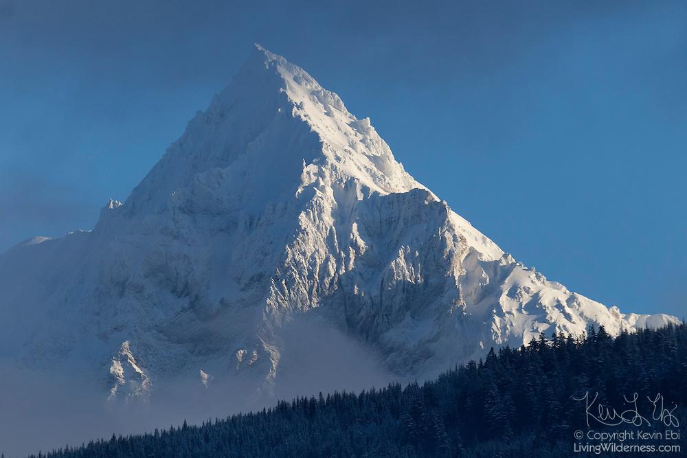 Fresh snow covers Mount Garibaldi, a 2678 meter (8786 foot) mountain located near Squamish, British Columbia, Canada.