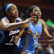 UNCASVILLE, CONNECTICUT- MAY 05:  Rachel Hollivay #14, (left), of the Atlanta Dream and Betnijah Laney #44 of the Chicago Sky in action during the Atlanta Dream Vs Chicago Sky preseason WNBA game at Mohegan Sun Arena on May 05, 2016 in Uncasville. (Photo by Tim Clayton/Corbis via Getty Images)