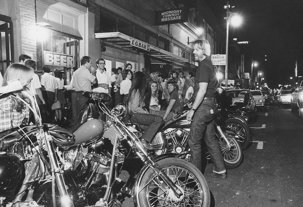 ©1984 motor bikes on Sixth Street, Austin, Texas