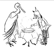 The Fox and the Stork from the book ' Aesop's fables ' Published in 1912 in London by Heinemann and in  New York by Page Doubleday Illustrated by Arthur Rackham,