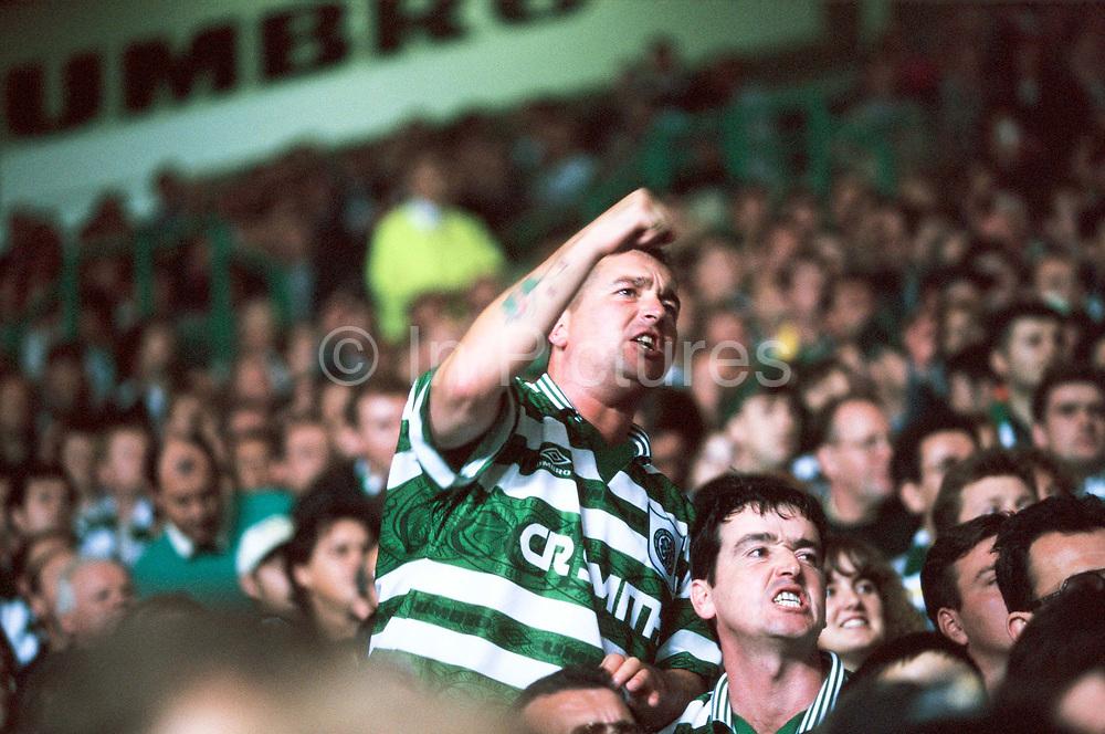 Celtic fans at Parkhead, Glasgow.