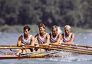 Barcelona Olympics 1992 - Lake Banyoles, SPAIN, NOR M4X Silver Medallist, UNDSET Kjetil, SÄTERSDAL Per Albert, BJÖNNESS Lars, THORSEN, Rolf Bernt, Photo: Peter Spurrier