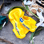 A discarded child's lifejacket near Skala Sykamias, Lesvos, Greece.