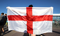 An England fan shows their support prior to the FIFA World Cup Group G match at The Volgograd Arena, Volgograd.