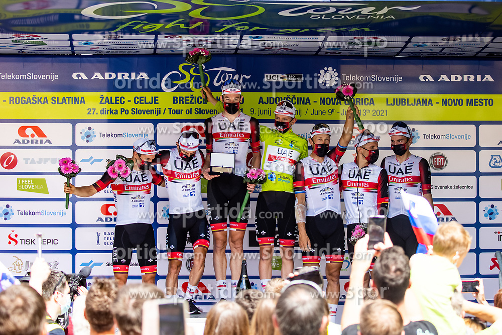 Team UAE Emirates with winner wearing green jersey Tadej POGACAR of UAE TEAM EMIRATES at trophy ceremony after the 5th Stage of 27th Tour of Slovenia 2021 cycling race between Ljubljana and Novo mesto (175,3 km), on June 13, 2021 in Slovenia. Photo by Matic Klansek Velej / Sportida