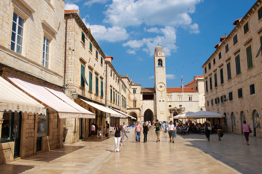 Stock photos of Placa (Stradum) - Main street in Dubrovnik looking towards the Bell tower - Croatia .<br /> <br /> Visit our MEDIEVAL PHOTO COLLECTIONS for more   photos  to download or buy as prints https://funkystock.photoshelter.com/gallery-collection/Medieval-Middle-Ages-Historic-Places-Arcaeological-Sites-Pictures-Images-of/C0000B5ZA54_WD0s