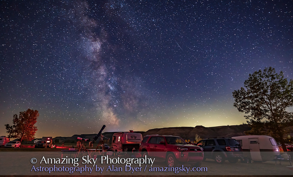 A pair of refractors at the Alberta Star Party, September 3-4, 2021, in the Starland County Recreation Area on the Red Deer River.
