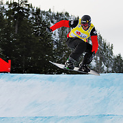 Snowboard-Cross racer Seth Wescott (USA) competes during the final race of the 2009 LG Snowboard FIS World Cup on February 13th, 2009 at Cypress Mountain, British Columbia. Seth Wescott's third place finish secured the bronze medal for the event. Mandatory Photo Credit: Bella Faccie Sports Media\Thomas Di Nardo. Contact: Thomas Di Nardo, Snohomish, Washington, USA. Telephone 425-260-8467. e-mail: tom@bellafaccie.com