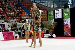 July 28, 2018 - Chieti, Abruzzo, Italy - Rhythmic gymnastics team of Italy performs its 3 ball 2 ropes routine during the Rhythmic Gymnastics pre World Championship Italy-Ukraine-Germany at Palatricalle on 29th of July 2018 in Chieti Italy. (Credit Image: © Franco Romano/NurPhoto via ZUMA Press)