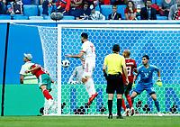 decisive own goal by Aziz Bouhaddouz (Morocco)<br /> Saint Petersburg 15-06-2018 Football FIFA World Cup Russia  2018 <br /> Morocco - Iran / Marocco - Iran <br /> Foto Matteo Ciambelli/Insidefoto