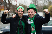LONDON, ENGLAND - MARCH 17: Ireland fans arriving early at Twickenham for the NatWest Six Nations Championship match between England and Ireland at Twickenham Stadium on March 17, 2018 in London, England. (Photo by Ashley Western - MB Media via Getty Images)