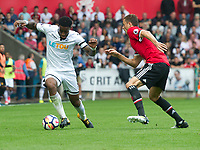 Football - 2017 / 2018 Premier League - Swansea City vs. Manchester United<br /> <br /> Leroy Fer of Swansea City attacks—<br /> , at Liberty Stadium.<br /> <br /> COLORSPORT/WINSTON BYNORTH