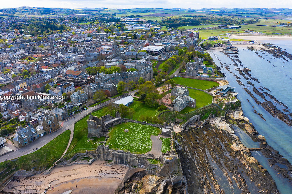 Aerial view of St Andrews Castle and city in St Andrews , Fife, Scotland, UK