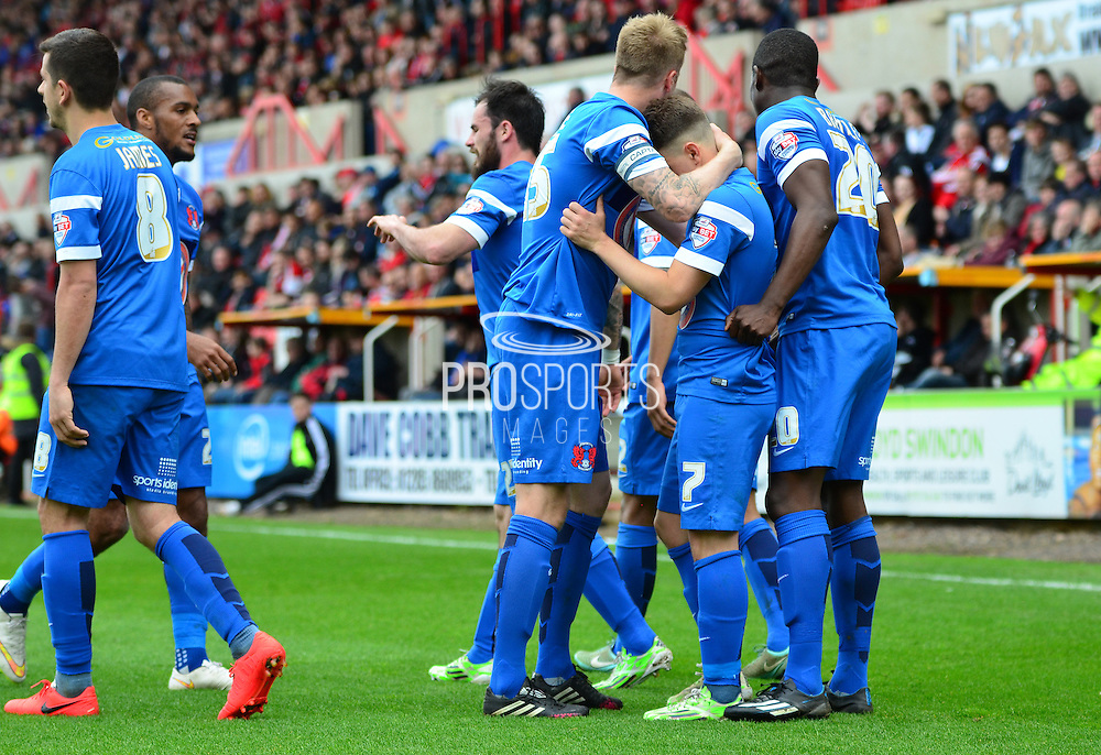 Leyton Orient players celebrate Dean Cox's opening goal during the Sky Bet League 1 match between Swindon Town and Leyton Orient at the County Ground, Swindon, England on 3 May 2015. Photo by Alan Franklin.