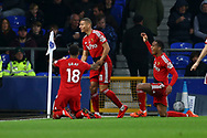 Richarlison of Watford (c) celebrates with his teammates after scoring his teams 1st goal.  Premier league match, Everton vs Watford at Goodison Park in Liverpool, Merseyside on Sunday 5th November 2017.<br /> pic by Chris Stading, Andrew Orchard sports photography.