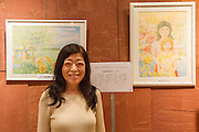 Akiko Hoshino at an exhibition by political Prisoner, Fumiaki Hoshino in Nakano, Tokyo, Japan. Sunday October 2nd 2016. Fumiaki Hoshino was a student activist during the turbulent anti-Vietnam war demos of the 1970s. He was arrested in 1975 for the murder of a policeman in a riot in Shibuya in 1971 and sentenced to life imprisonment despite there being important issues with the case that cast doubt on Hoshino's guilt. He remains incarcerated to this day. His wife, Akiko Hoshino campaigns for his release. Hoshino san was allowed to begin painting in the prison art class a few years ago and the Free Hoshino campaign began by his wife puts on regular exhibitions of his art to raise awareness of this long-serving political prisoner who is virtually unknown domestically or internationally..
