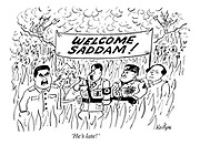 'He's late!' (dead dictators Stalin, Genghis Khan, Hitler, Mussolini and Chairman Mao wait in hell with a banner Welcome Saddam!)