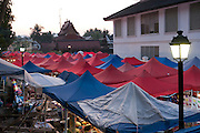 Night market for tourists in Luang Prabang, Laos.