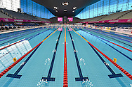 The Aquatics pool before the afternoon session on Day 13 of the 2016 LEN European Aquatics Championship Swimming Finals at the London Aquatics Centre, London, United Kingdom on 21 May 2016. Photo by Martin Cole.