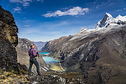 Nevado Huandoy (20,866 feet or 6360 meters elevation) rises high above Llanganuco Valley and Lakes, in Huascaran National Park (UNESCO World Heritage Site), Cordillera Blanca, Andes Mountains, Peru, South America. Published in Wilderness Travel 2018 Catalog of Adventures.
