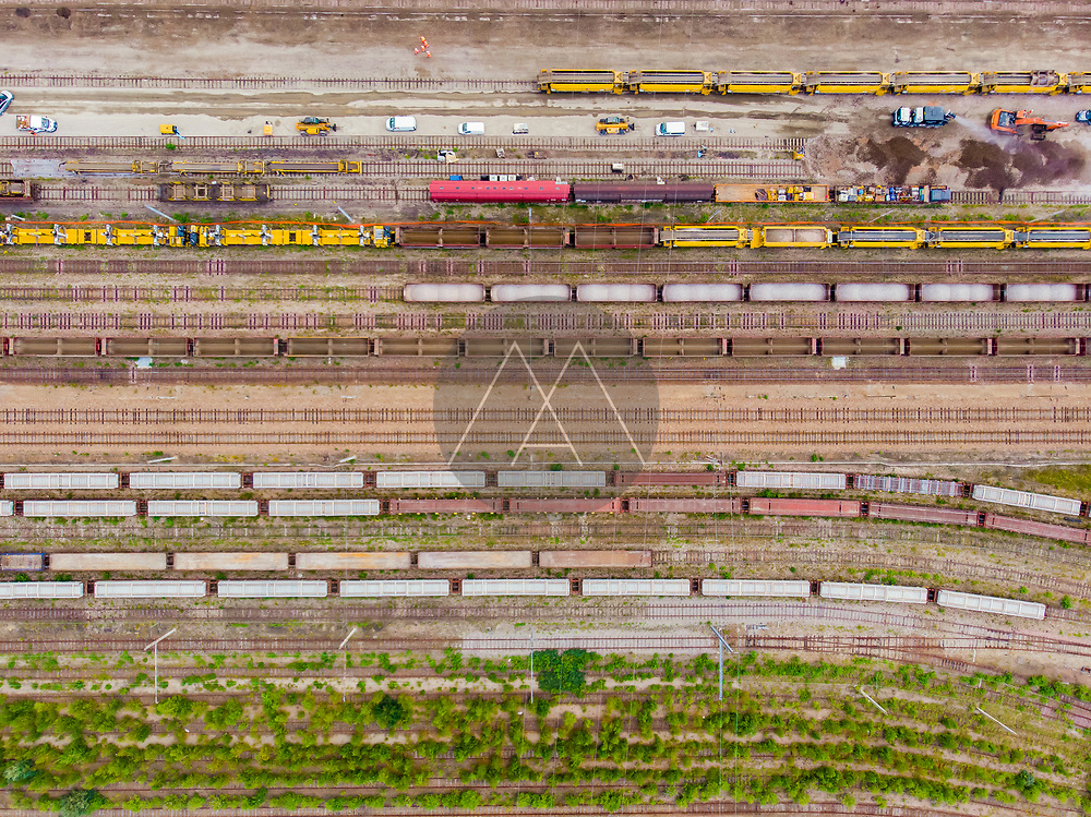 Aerial view of railways and trains, Le Havre train station, Normandy, France.