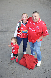 South Africa - Johannesburg, Emirates Airlines Park. 24/08/18  Currie Cup. Lions vs Griquas.<br /> Heidi and Hein Kern and their daughter Inke from Centurion before the game.<br /> Picture: Karen Sandison/African News Agency(ANA)