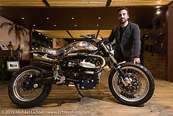 Giuseppe Carucci of South Garage Motor Company in Milan with his 2017 custom BMW RnineT Scrambler with all handmade bodywork at Motor Bike Expo. Verona, Italy. Thursday January 18, 2018. Photography ©2018 Michael Lichter.