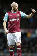 James Collins of West Ham United giving the thumbs up. The Emirates FA cup, 4th round replay match, West Ham Utd v Liverpool at the Boleyn Ground, Upton Park  in London on Tuesday 9th February 2016.<br /> pic by John Patrick Fletcher, Andrew Orchard sports photography.