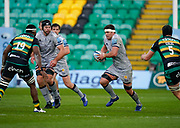 Sale Sharks flanker Jono Ross runs at Northampton Saints Api Ratuniyarawa during a Gallagher Premiership Round 13 Rugby Union match, Saturday, Mar. 13, 2021, in Northampton, United Kingdom. (Steve Flynn/Image of Sport)